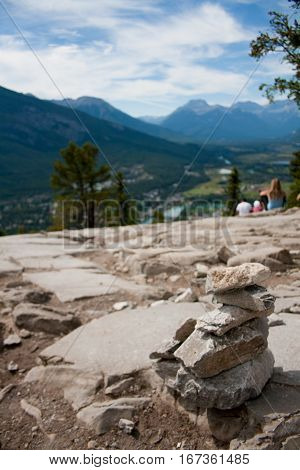 An overlook with a view of Banff Canada on the Tunnel Mountain hiking trail.