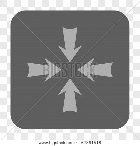 Reduce Arrows interface toolbar button. Vector icon style is a flat symbol inside a rounded square button, light gray and gray colors, chess transparent background.