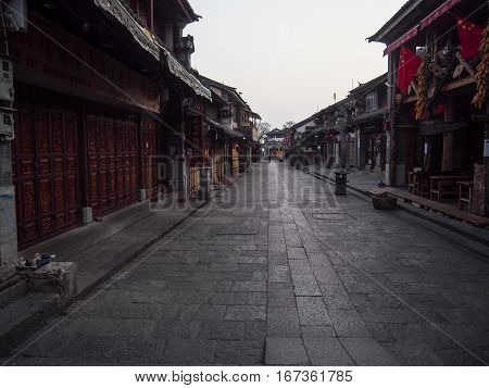 A traditional street in the old city of Dali in the Yunnan province of China.
