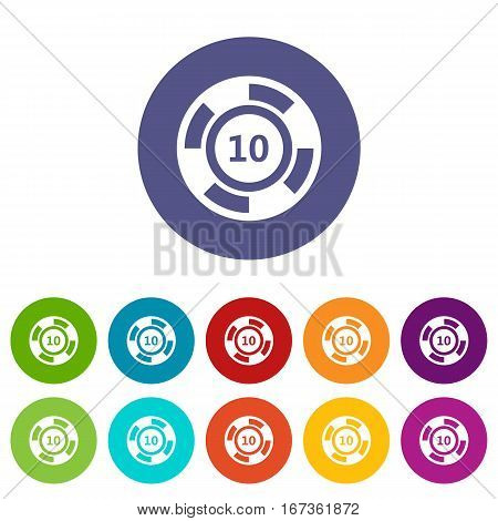 Casino chip set icons in different colors isolated on white background