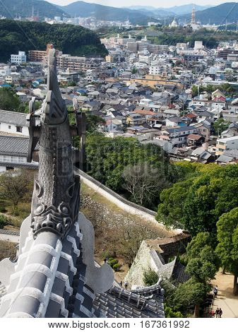 View from Himeji Castle overlooking the city.