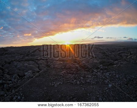 Sunset at the lava fields of Hawaii's Big Island.