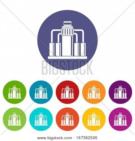 Oil refining set icons in different colors isolated on white background