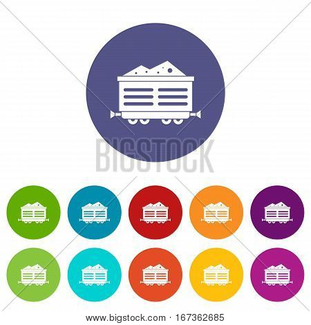 Train waggon with coal set icons in different colors isolated on white background