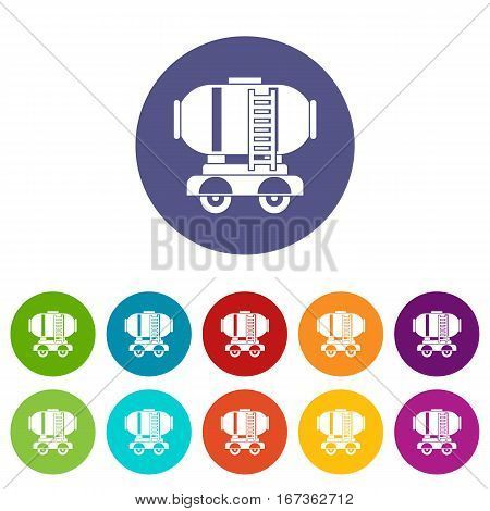Waggon storage tank with oil set icons in different colors isolated on white background