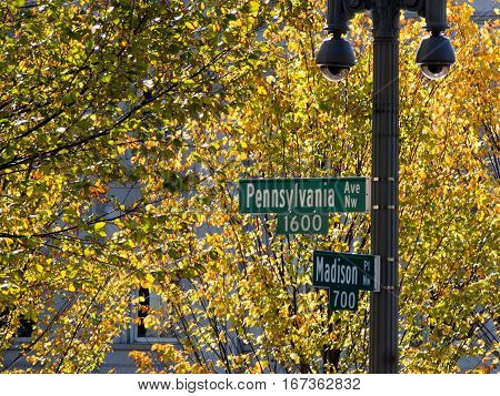 Street sign for 1600 Pennsylvania Ave the address of the White House in Washington DC.