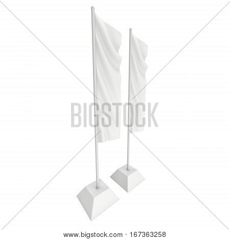 Flag Blank Expo Banner Stand. Trade show booth. 3d render illustration isolated on white background. Template mockup for your expo design.
