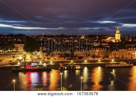 Panorama of Angers at sunset. Angers Pays de la Loire France.