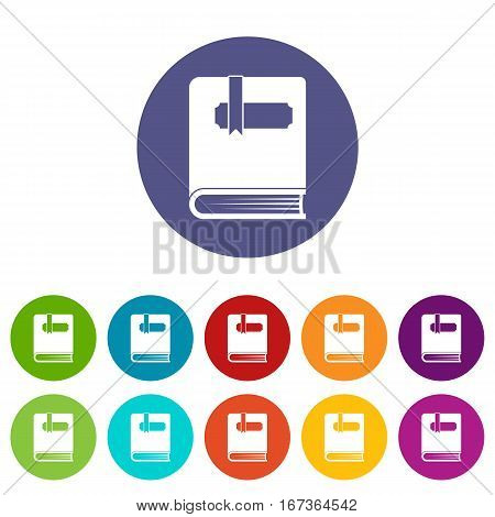 Thick book with bookmark set icons in different colors isolated on white background