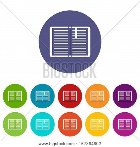 Open tutorial with bookmark set icons in different colors isolated on white background