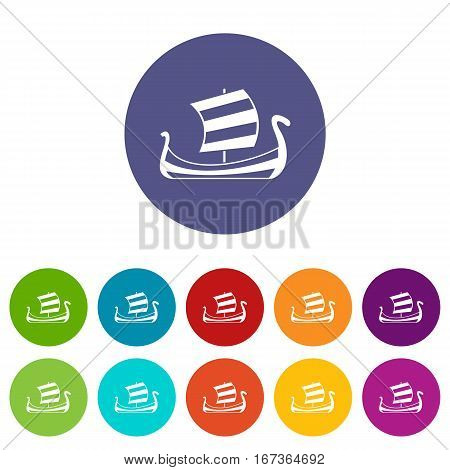 Medieval boat set icons in different colors isolated on white background
