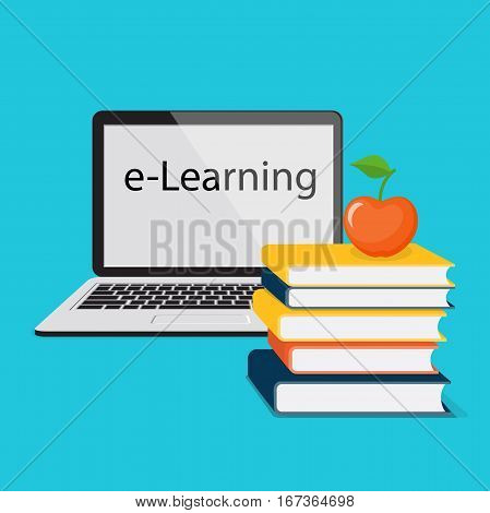 Modern design concept of the learning for website or banner of e-learning training business courses online education seminar webinar with book apple and laptop. eps 10