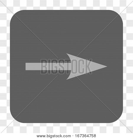 Sharp Arrow Right interface toolbar button. Vector icon style is a flat symbol on a rounded square button, light gray and gray colors, chess transparent background.