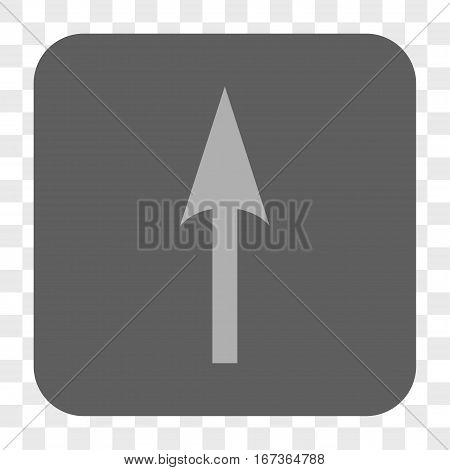 Sharp Arrow Up interface toolbar button. Vector icon style is a flat symbol in a rounded square button, light gray and gray colors, chess transparent background.
