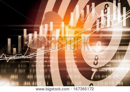 Target Arrow On Dart Board And Stock Market Indicator Graph. Financial Graph And Stock Market Target