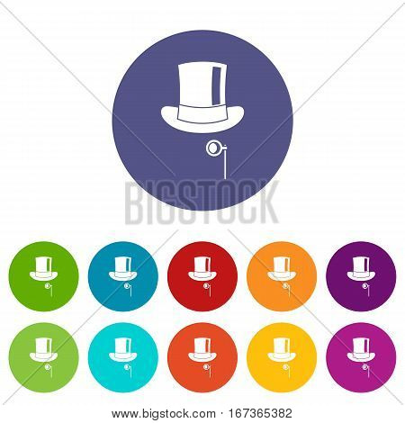 Hat with monocle set icons in different colors isolated on white background