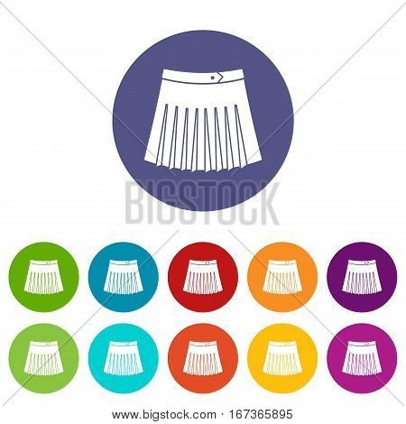 Tennis female skirt set icons in different colors isolated on white background