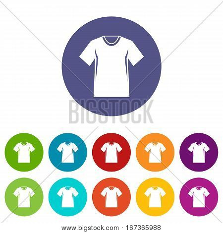 Men tennis t-shirt set icons in different colors isolated on white background