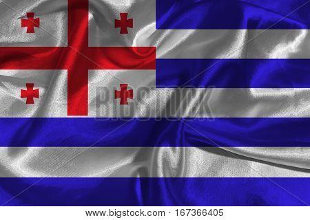 Adjara flag ,Adjara national flag 3D illustration symbol.