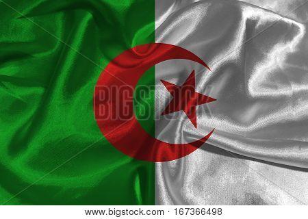 Algeria flag 3D illustration vertical bicolor symbol. Algeria flag background