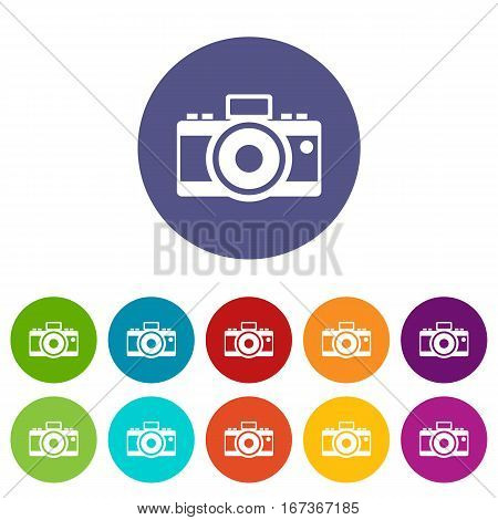 Photocamera set icons in different colors isolated on white background