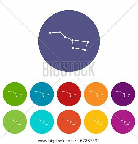 The Great Bear constellation set icons in different colors isolated on white background