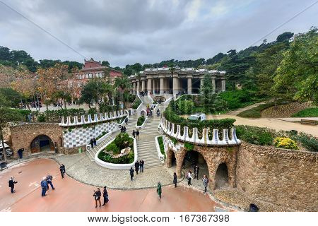 Barcelona, Spain - November 24, 2016: Park Guell in Barcelona Spain is a public park system composed of gardens and architectonic elements located on Carmel Hill in Barcelona Catalonia (Spain).