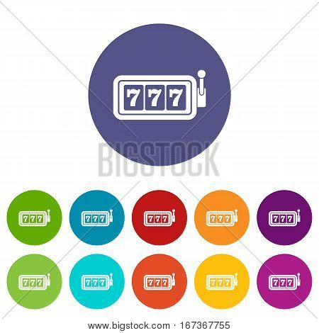 Lucky seven on slot machine set icons in different colors isolated on white background