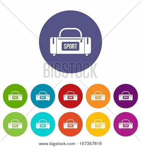Large sports bag set icons in different colors isolated on white background