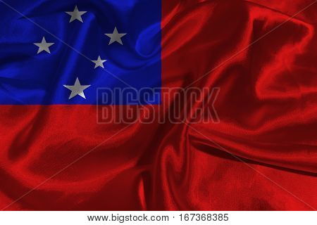 Samoa flag ,Independent State of Samoa flag 3D illustration symbol