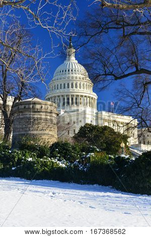 United States Capitol Building in snow - Washington DC USA