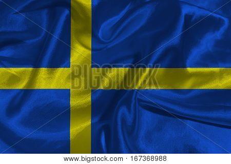 Sweden national flag 3D illustration symbol. Sweden flag