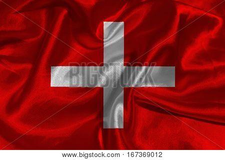 Switzerland national flag 3D illustration symbol .