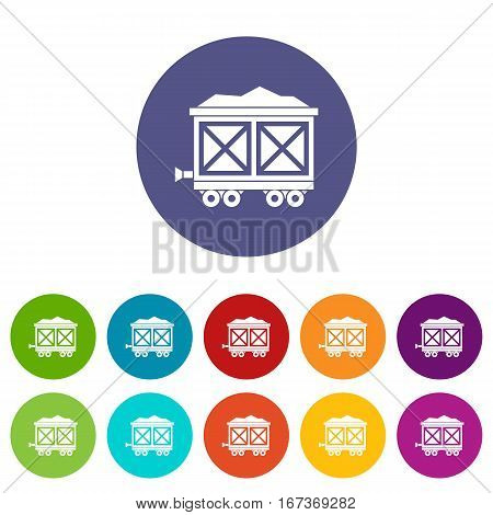 Cart on wheels with gold set icons in different colors isolated on white background