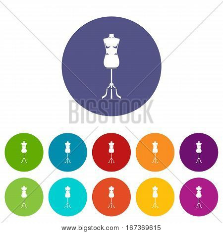 Sewing mannequin set icons in different colors isolated on white background