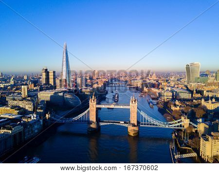 Aerial view over Tower Bridge River Thames and the city of London UK