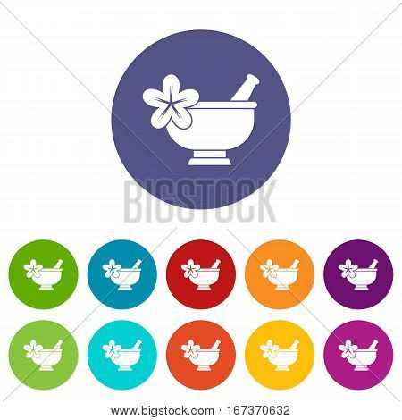 Mortar and pestle pharmacy set icons in different colors isolated on white background