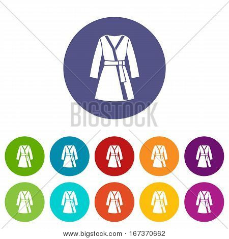 Bathrobe set icons in different colors isolated on white background