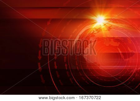 Graphical News Background with World Map and Round Circles and Direction Around the Erath Globe. Red Theme Background. 3d illustration 3d render