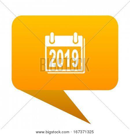 new year 2019 orange bulb web icon isolated.