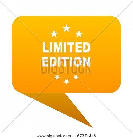 limited edition orange bulb web icon isolated.
