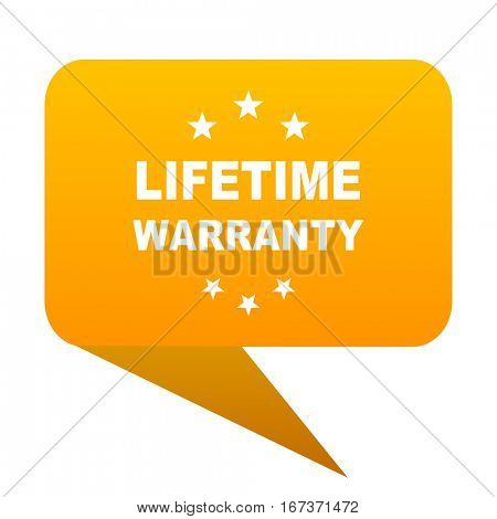 lifetime warranty orange bulb web icon isolated.