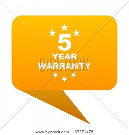 warranty guarantee 5 year orange bulb web icon isolated.