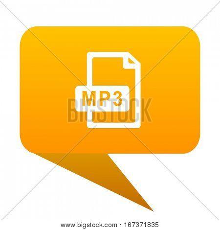 mp3 file orange bulb web icon isolated..
