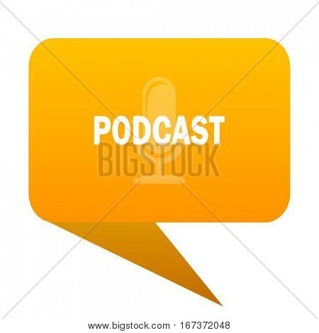 podcast orange bulb web icon isolated.