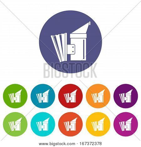 Fumigation set icons in different colors isolated on white background