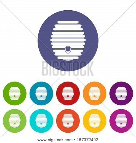 Beehive set icons in different colors isolated on white background