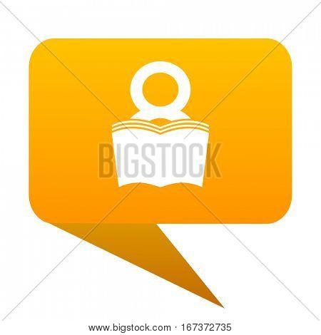 book orange bulb web icon isolated.