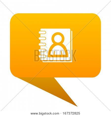 address book orange bulb web icon isolated.