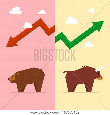 Bull and bear symbol of stock market. Business concept